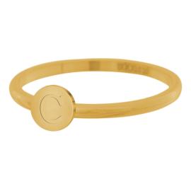 iXXXi Jewelry Ring Alfabet C Goudkleurig 2mm