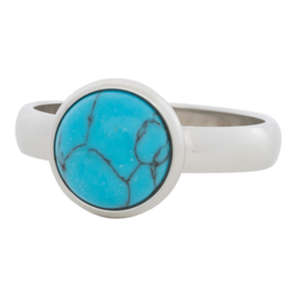 iXXXi Jewelry 12mm Blue Turquoise Stone Zilverkleurig 4mm