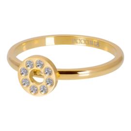 iXXXi Jewelry Vulring Flat Circles Crystal Stone 2mm Goudkleurig