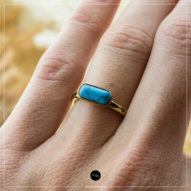 iXXXi Jewelry Losse Ring Festival Turquoise Goudkleurig 2mm