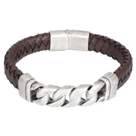 iXXXi Men Bracelet Albert Mat Zilver Bruin