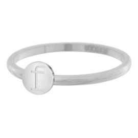 iXXXi Jewelry Ring Alfabet F Zilverkleurig 2mm