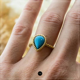 iXXXi Jewelry Losse Ring Magic Turquoise Goudkleurig 2mm