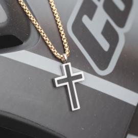 iXXXi Men Jewelry Chain Cross Ketting Zilver/Goudkleurig