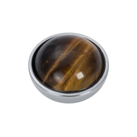iXXXi Jewelry Top Part Brown Amber Stone Zilverkleurig