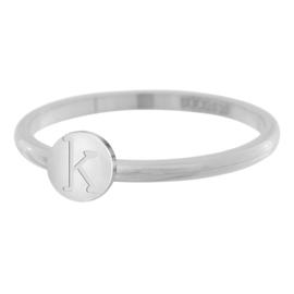 iXXXi Jewelry Ring Alfabet K Zilverkleurig 2mm