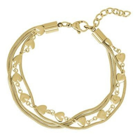 iXXXi Jewelry Bracelet Snake and 1 Heart Goudkleurig
