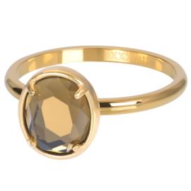 iXXXi Jewelry Vulring Glam Oval Topaz 2mm Goudkleurig