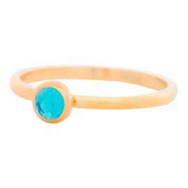 iXXXi Jewelry 1 Zirconia Water Blue Goudkleurig 2mm