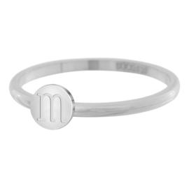 iXXXi Jewelry Ring Alfabet M Zilverkleurig 2mm