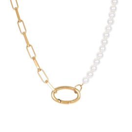 iXXXi Jewelry Ketting Square Chain Pearl Goudkleurig