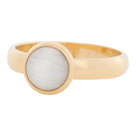 iXXXi Jewelry 10mm White Cat Eye Stone Goudkleurig 4mm