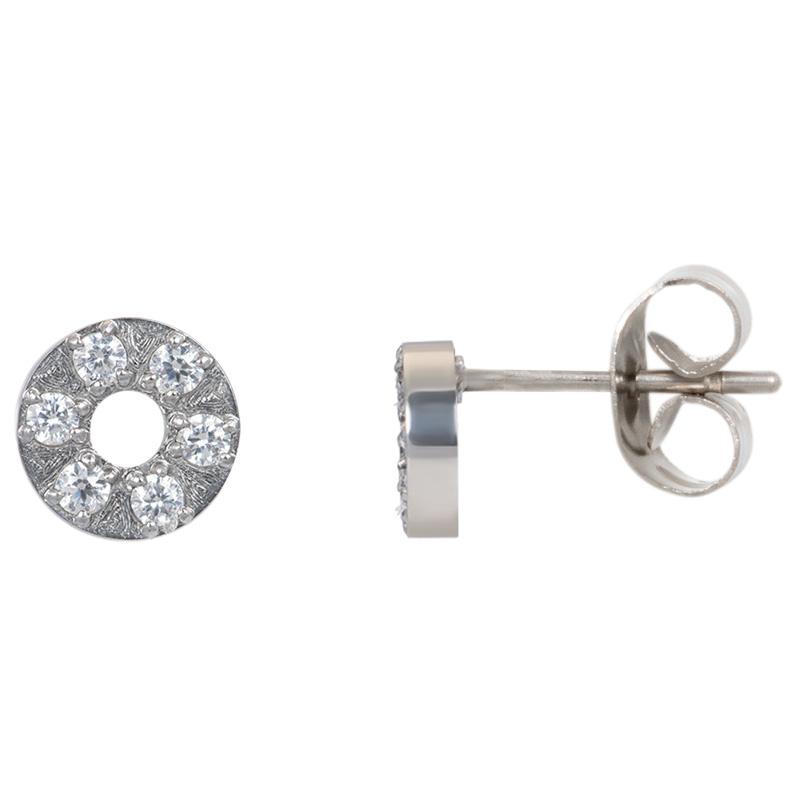 iXXXi Jewelry Ear studs Circle Stone 6mm Zilverkleurig