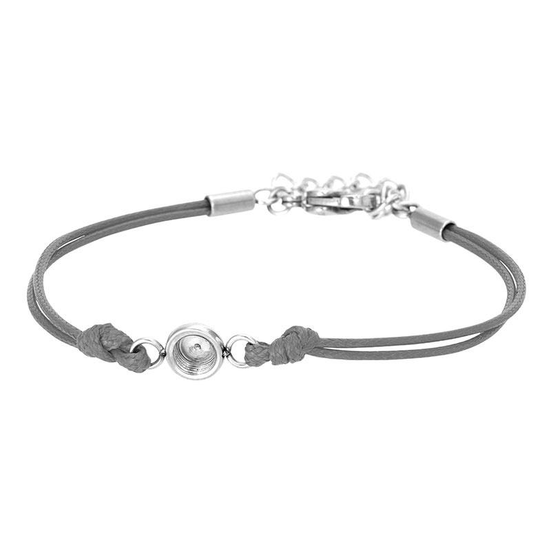 iXXXi Jewelry Top Part Bracelet Wax Cord Base Grey