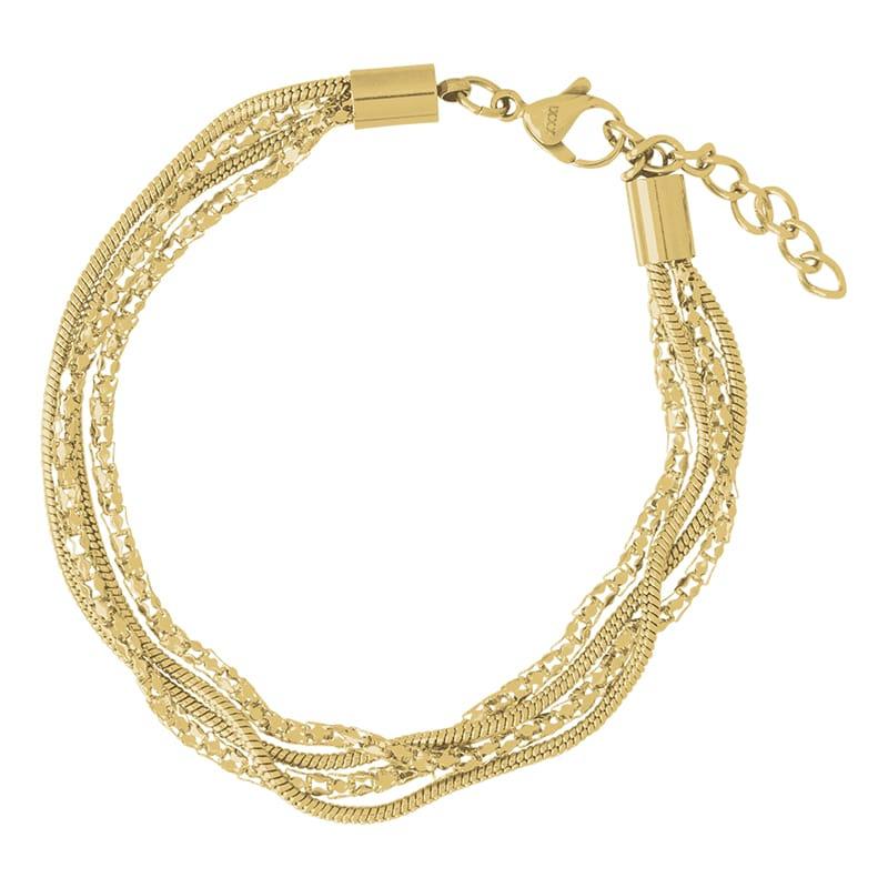 iXXXi Jewelry Ankle Strap Snake and 2 Popcorn Goudkleurig