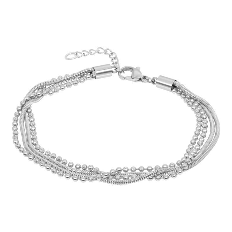 iXXXi Jewelry Bracelet Snake Ball Slim 4pcs Zilverkleurig