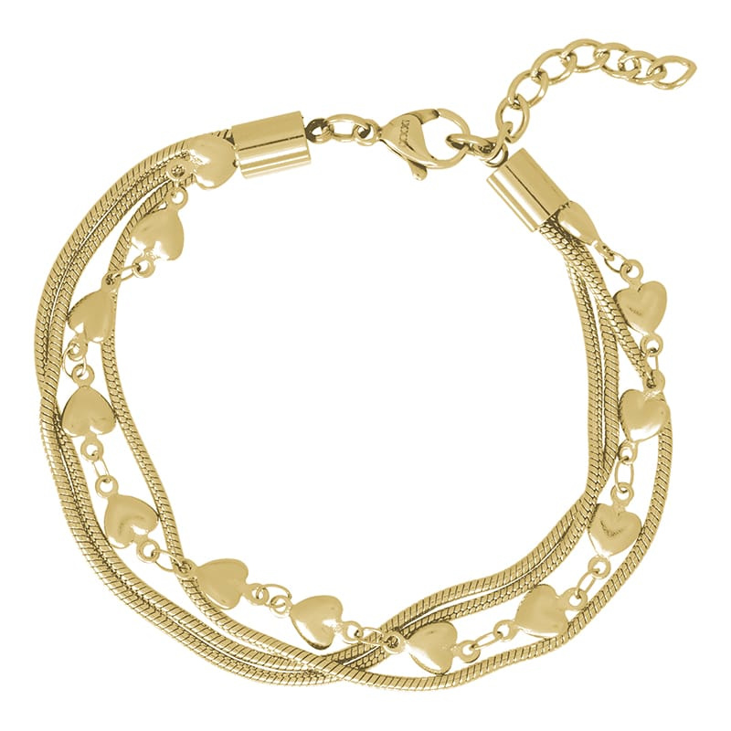 iXXXi Jewelry Ankle Strap Snake and 1 Heart Goudkleurig