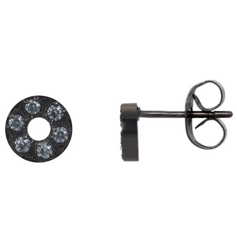 iXXXi Jewelry Ear studs Circle Stone 6mm Zwart