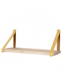 Leren plankdrager | Okergeel