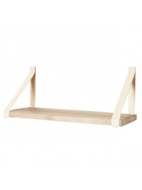 Leren plankdrager | Cream