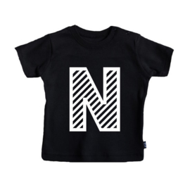 Striped Initial |  T-shirt