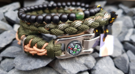 "Stoere Paracord armband stainless steel ""Serpente"" set"