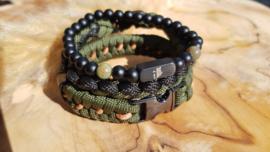 "Stoere set paracord/natuursteen armband  ""lupa"""