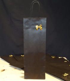 Cadeau verpakking met strik 1 fles wijn (exclusief inhoud)
