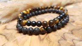 Natuursteen set armband Tiger Eye/ black Lava stone