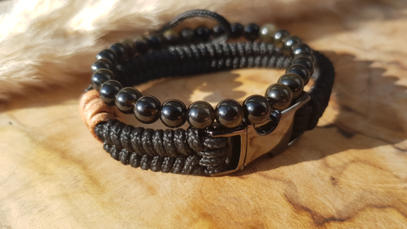 "Stoere set paracord/natuursteen armband  ""Scorpione"""