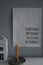 Kerstdoek 'Silent night, holy night' - 29x21cm