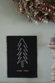 Kerst wanddoek 'Pine tree' - 29x21cm