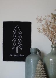 Kerst wanddoek  'Oh denneboom' - 29x21cm