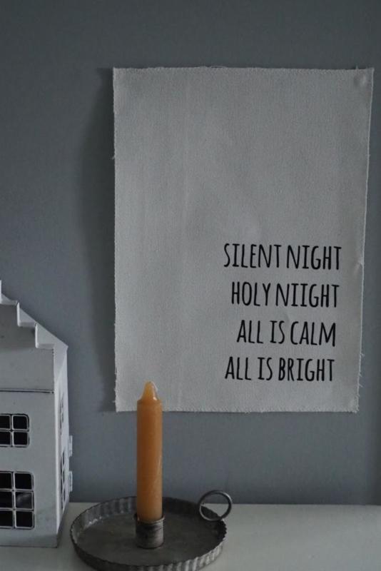 Kerst wanddoek  'Silent night, holy night' - 29x21cm