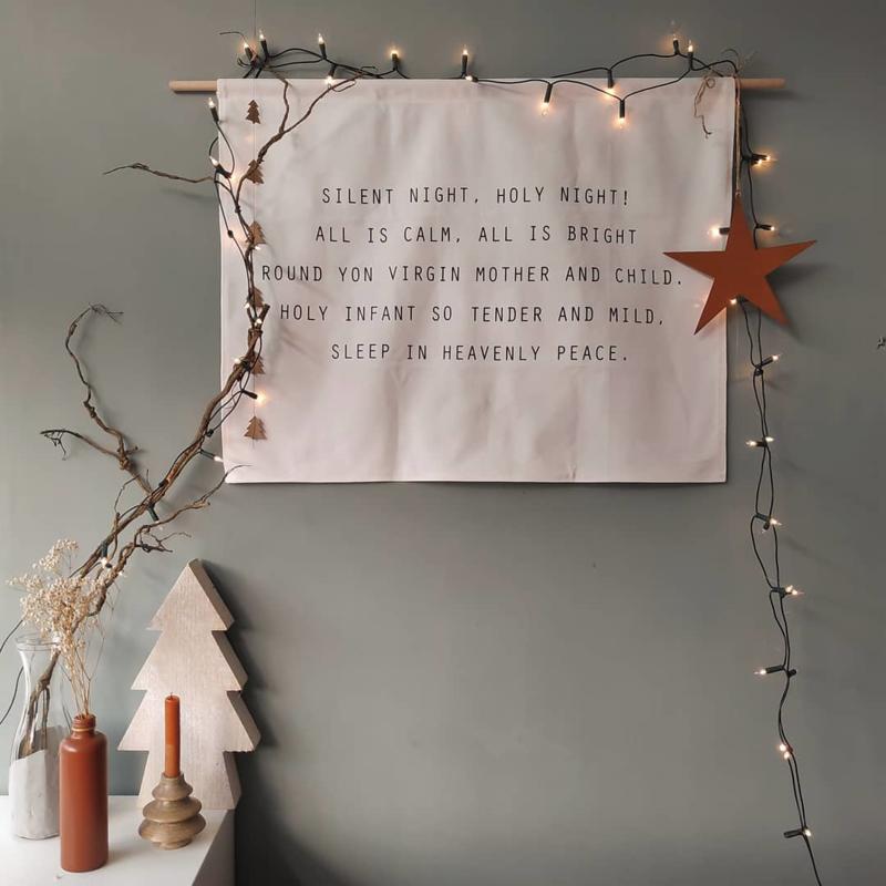Kerst wanddoek  'Silent night, holy night' - 65x85cm