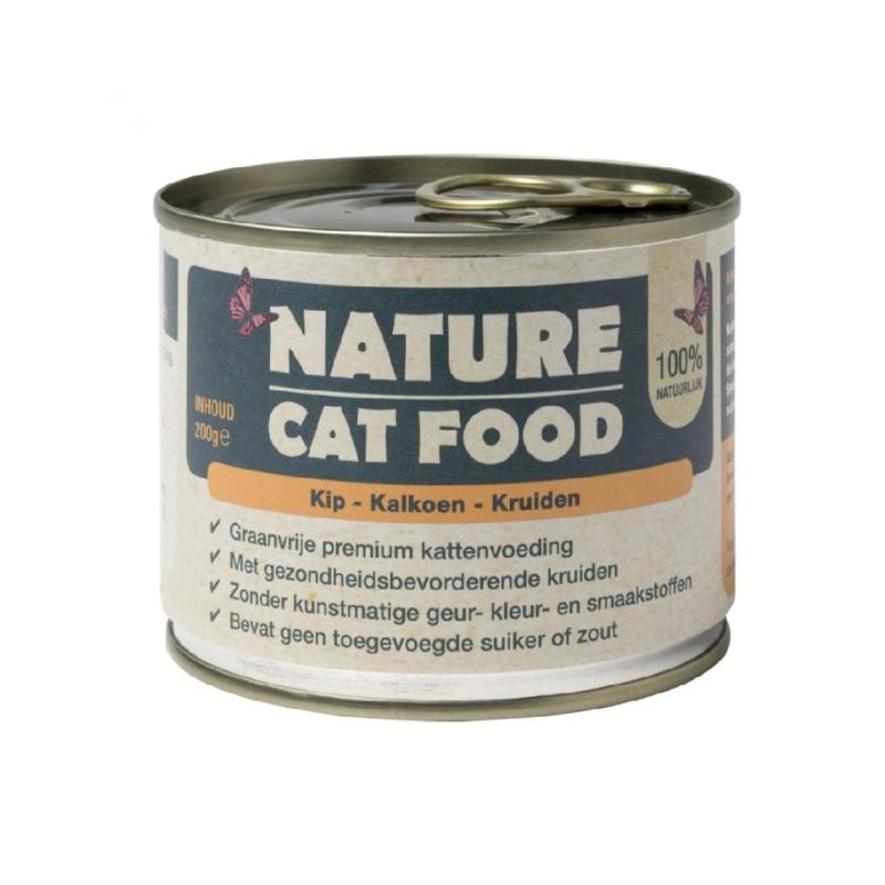 Nature Cat Food kip, kalkoen & kruiden 200 gram