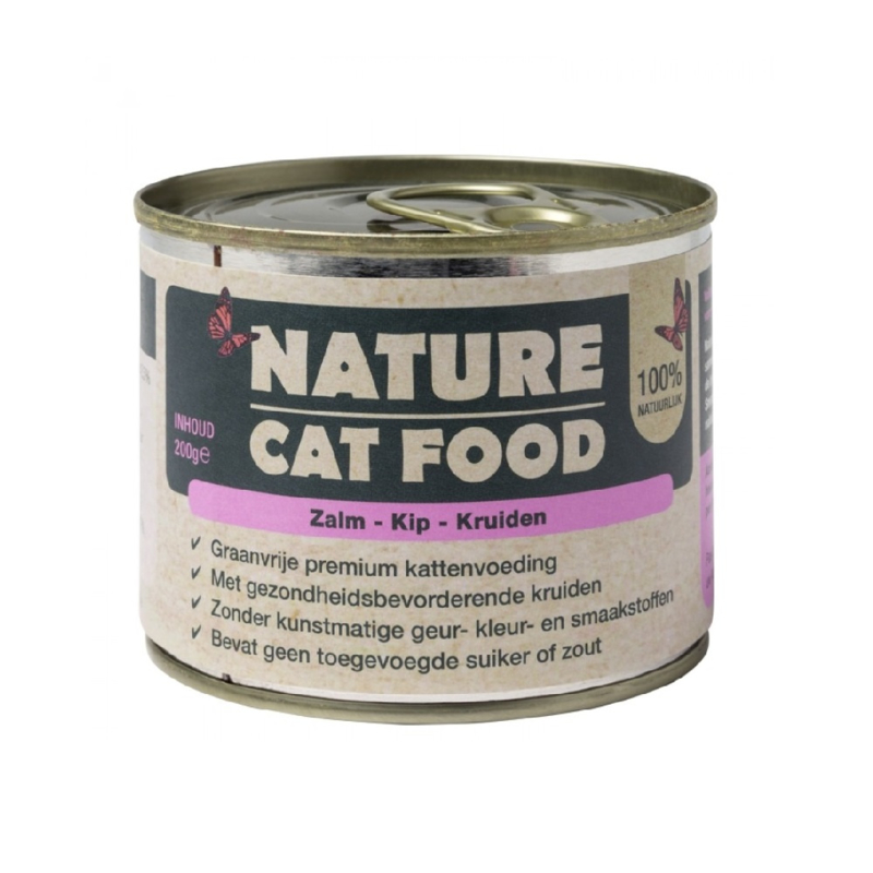 Nature Cat Food zalm, kip & kruiden 200 gram