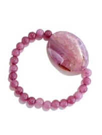 Armbamd Roze Agaat met natuursteen