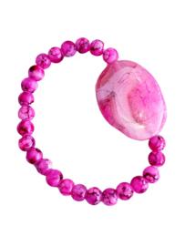 Armband Roze Agaat met glaskralen
