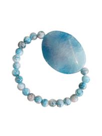 Armband Lichtblauwe Agaat met glaskralen