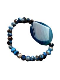 Armband met Donker Blauwe Agaat