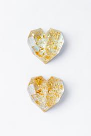 Resin Art Heart Deco Small Golden Glitter