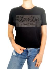 #lovelife Shirt met Zwart Glitter