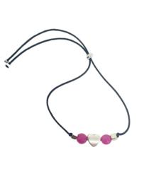Arm-enkelbandje met Roze Agaat