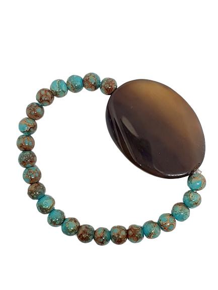 Armband Bruine Agaat met glaskralen