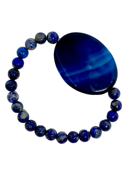 Armband Midnight Blue Agaat met glaskralen