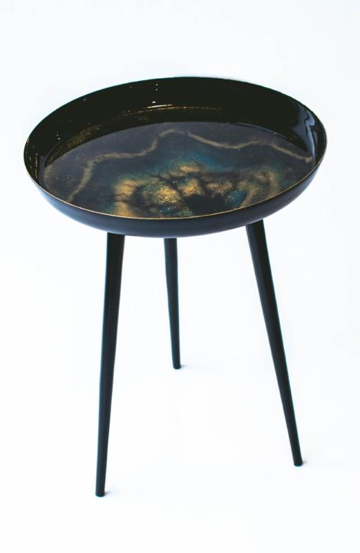 Resin Art Bijzettafel Black Galaxy