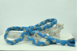 Fleece vlecht - strik - grijs/blauw