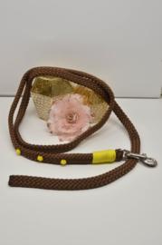 Halstertouw, Bruin met geel accessoires 12mm PPM