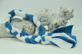 Fleece vlecht - M - Wit/blauw